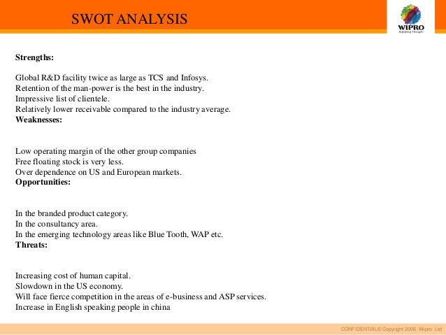 economic analysis of wipro The five major companies include tata consultancy services, infosys, oracle, hcl and wipro the primary objective of the study to suggest the so this study also analyses the economy, the industry and company analysis to know the behavior of stock performance of the it industry one of the primary assumptions of the.