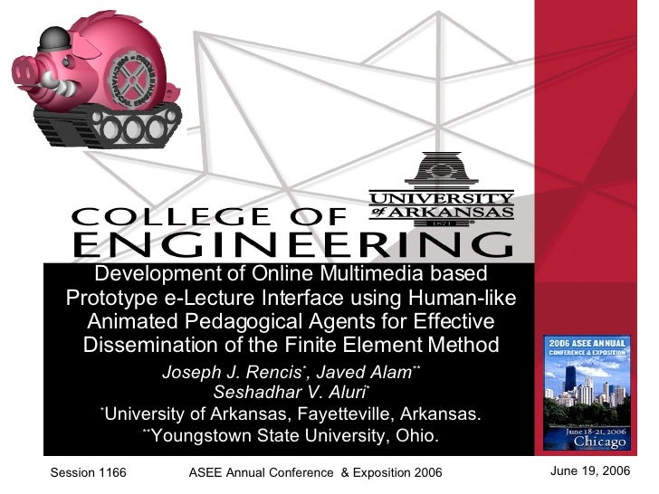Session 1166 June 19, 2006 ASEE Annual Conference  & Exposition 2006 Development of Online Multimedia based Prototype e-Le...
