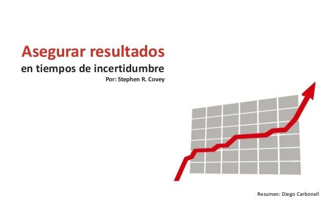 Asegurar resultados en tiempos de incertidumbre Por: Stephen R. Covey  Resumen: Diego Carbonell