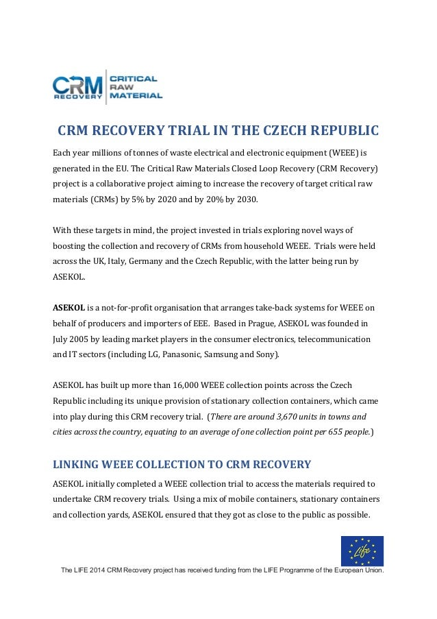 The LIFE 2014 CRM Recovery project has received funding from the LIFE Programme of the European Union. 	 	 	 	 CRM	RECOVER...