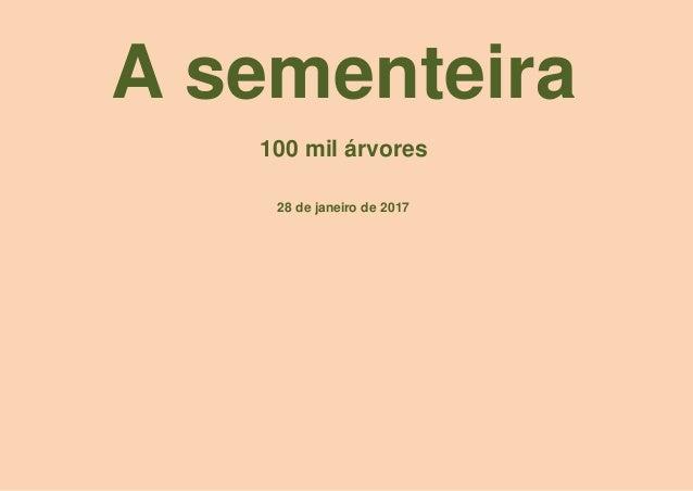 A sementeira 100 mil árvores 28 de janeiro de 2017