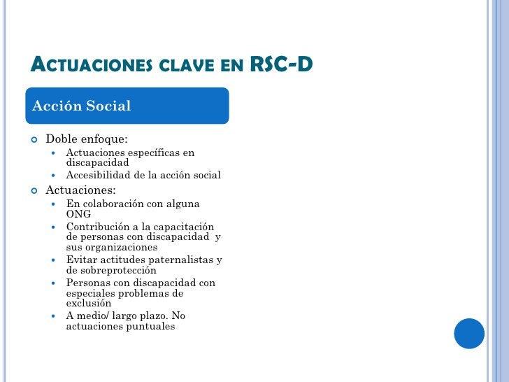 ACTUACIONES CLAVE EN RSC-DAcción Social   Doble enfoque:     Actuaciones específicas en      discapacidad     Accesibil...
