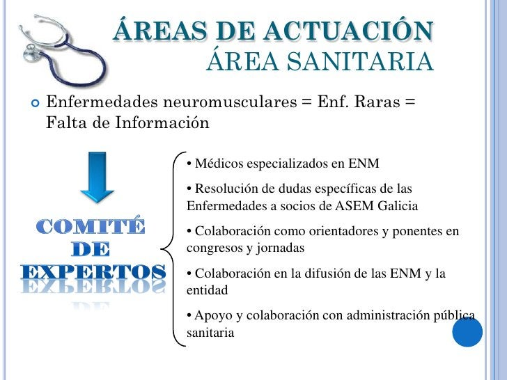 ÁREAS DE ACTUACIÓN                ÁREA SANITARIA   Enfermedades neuromusculares = Enf. Raras =    Falta de Información   ...