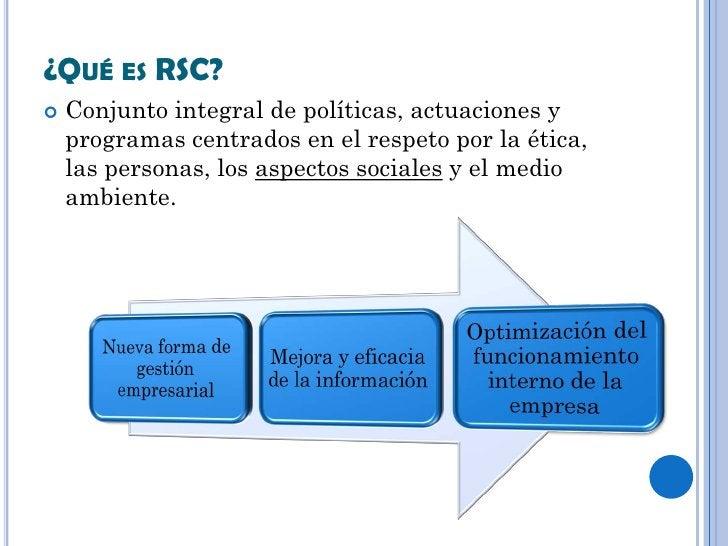 ¿QUÉ ES RSC?   Conjunto integral de políticas, actuaciones y    programas centrados en el respeto por la ética,    las pe...