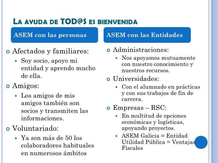 LA AYUDA DE TOD@S ES BIENVENIDA    ASEM con las personas          ASEM con las Entidades   Afectados y familiares:       ...