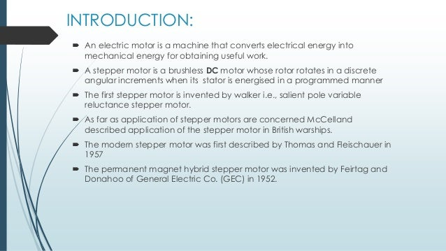 ... CONCLUSION; 3. INTRODUCTION:  An electric motor ...
