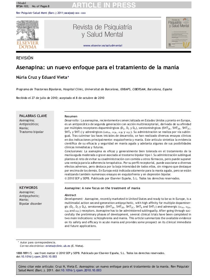 +ModelRPSM-103;     No. of Pages 8                  ARTICLE IN PRESSRev Psiquiatr Salud Ment (Barc.) 2011;xxx(xx):xxx—xxx ...