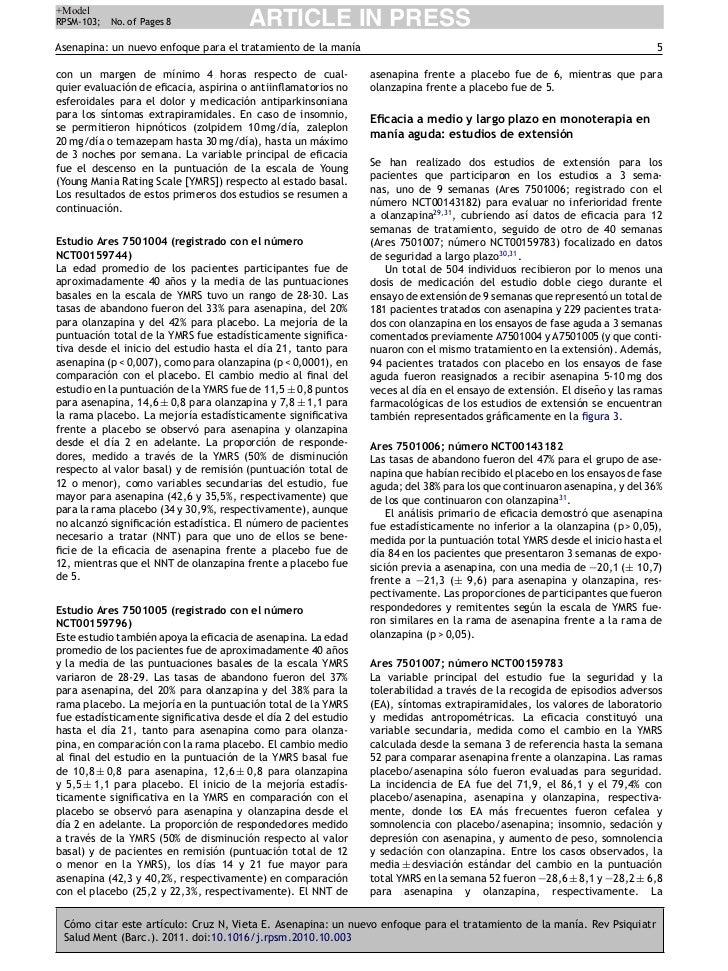 +ModelRPSM-103;   No. of Pages 8             ARTICLE IN PRESSAsenapina: un nuevo enfoque para el tratamiento de la manía  ...