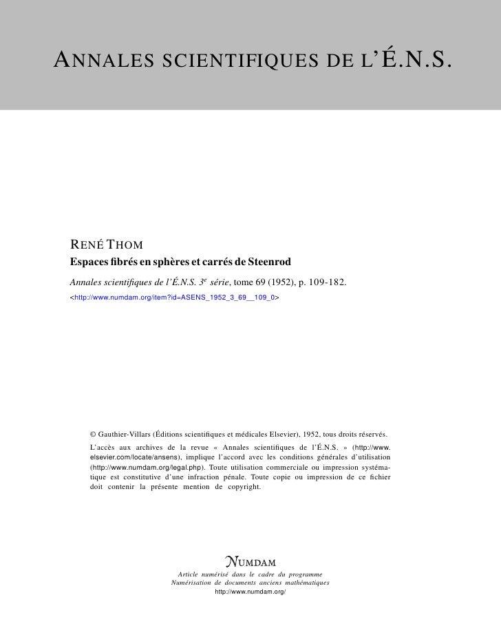 A NNALES SCIENTIFIQUES DE L'É.N.S.      R ENÉ T HOM  Espaces fibrés en sphères et carrés de Steenrod  Annales scientifiques ...