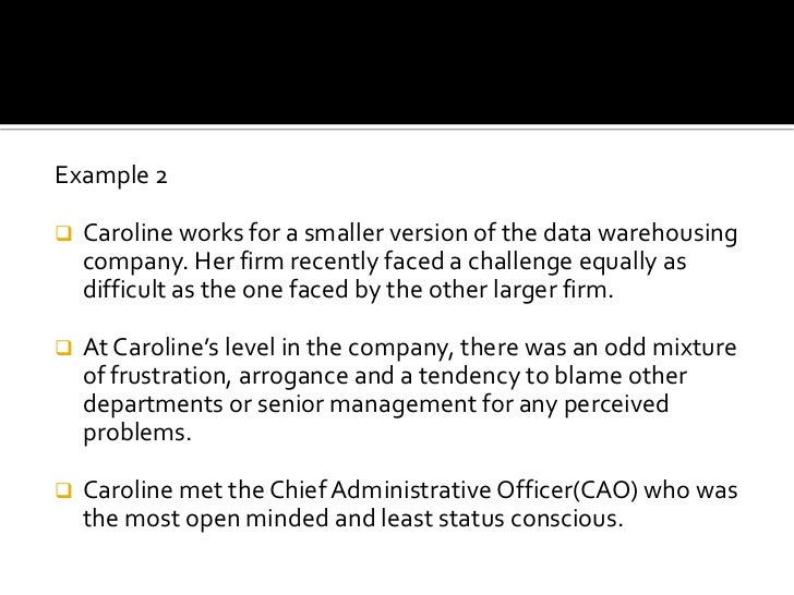 Example 2<br /><ul><li>Caroline works for a smaller version of the data warehousing company. Her firm recently faced a cha...