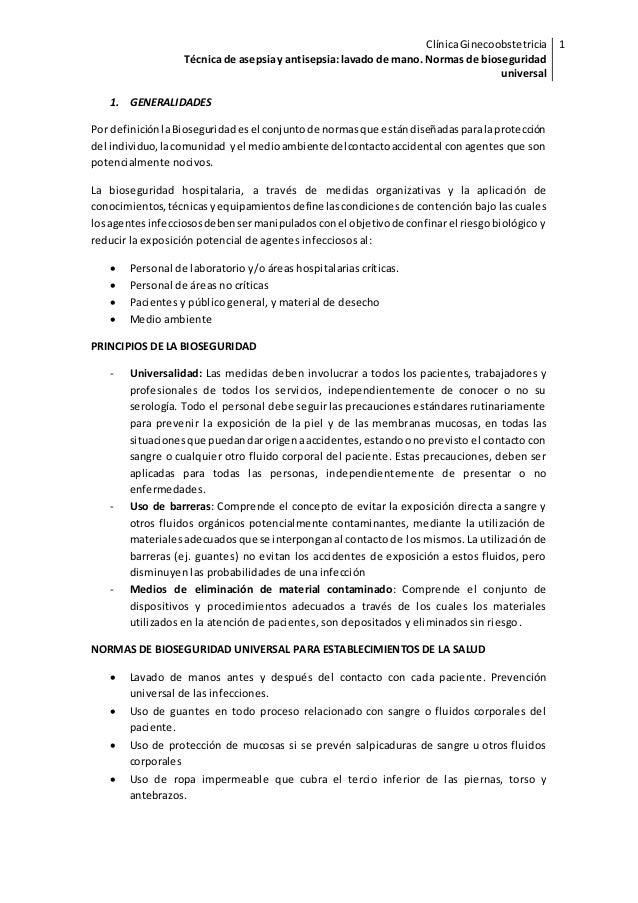 ClínicaGinecoobstetricia Técnica de asepsiay antisepsia lavado de mano.  Normas de bioseguridad universal 1 1 ClínicaGinecoobstetricia ... 8a47bdba2944