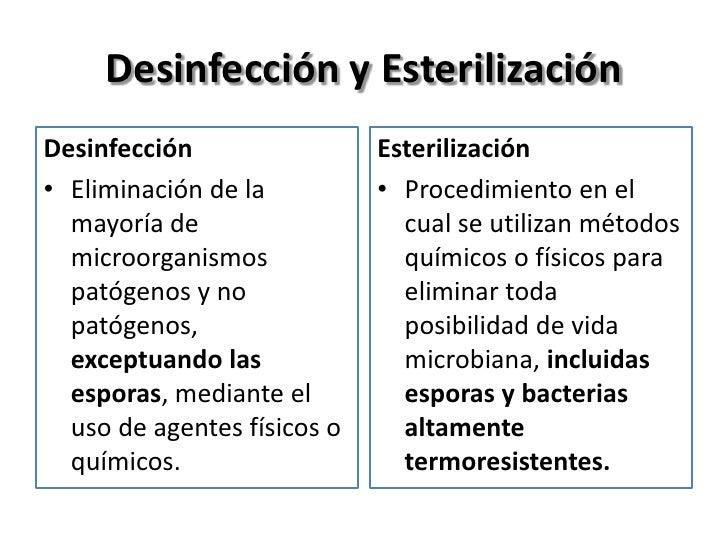 Desinfección y EsterilizaciónDesinfección                 Esterilización• Eliminación de la          • Procedimiento en el...