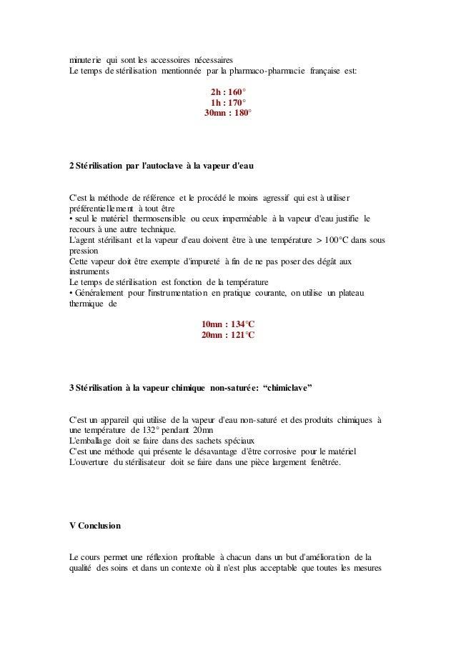 minuterie qui sont les accessoires nécessaires Le temps de stérilisation mentionnée par la pharmaco-pharmacie française es...