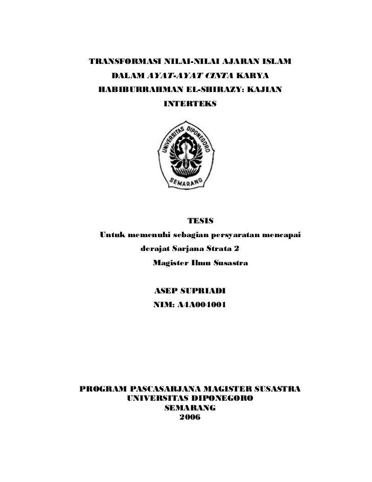 TRANSFORMASI NILAI-NILAI AJARAN ISLAM     DALAM AYAT-AYAT CINTA KARYA   HABIBURRAHMAN EL-SHIRAZY: KAJIAN                IN...