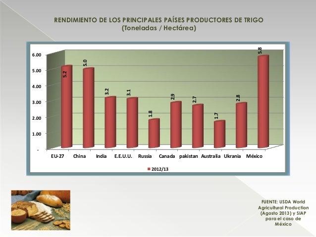 RENDIMIENTO DE LOS PRINCIPALES PAÍSES PRODUCTORES DE TRIGO (Toneladas / Hectárea) FUENTE: USDA World Agricultural Producti...