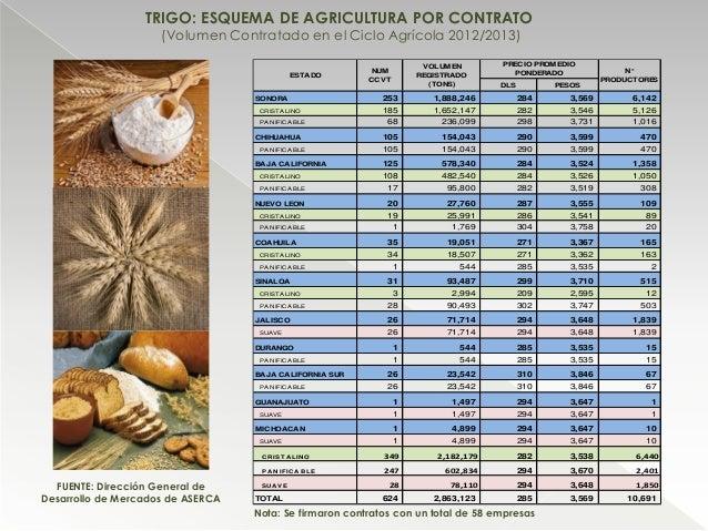 TRIGO: ESQUEMA DE AGRICULTURA POR CONTRATO (Volumen Contratado en el Ciclo Agrícola 2012/2013) DLS PESOS SONORA 253 1,888,...