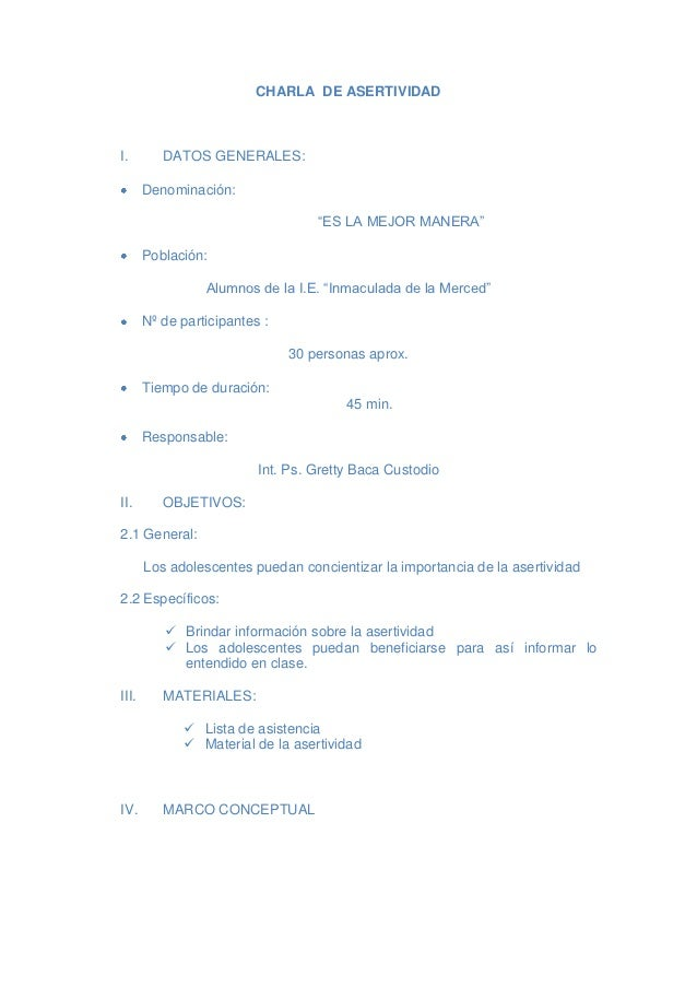 """CHARLA DE ASERTIVIDADI.        DATOS GENERALES:       Denominación:                                   """"ES LA MEJOR MANERA""""..."""