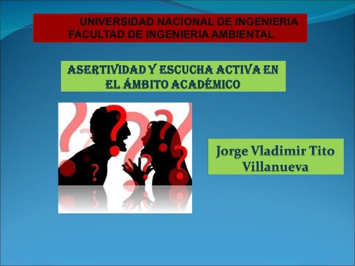 UNIVERSIDAD NACIONAL DE INGENIERIA FACULTAD DE INGENIERIA AMBIENTAL