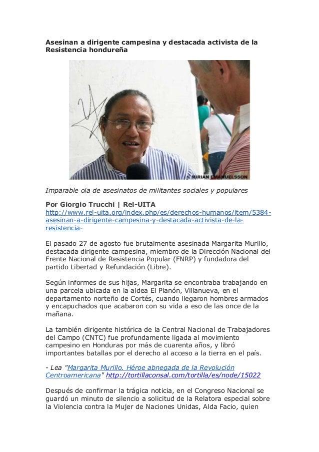 Asesinan a dirigente campesina y destacada activista de la Resistencia hondureña Imparable ola de asesinatos de militantes...