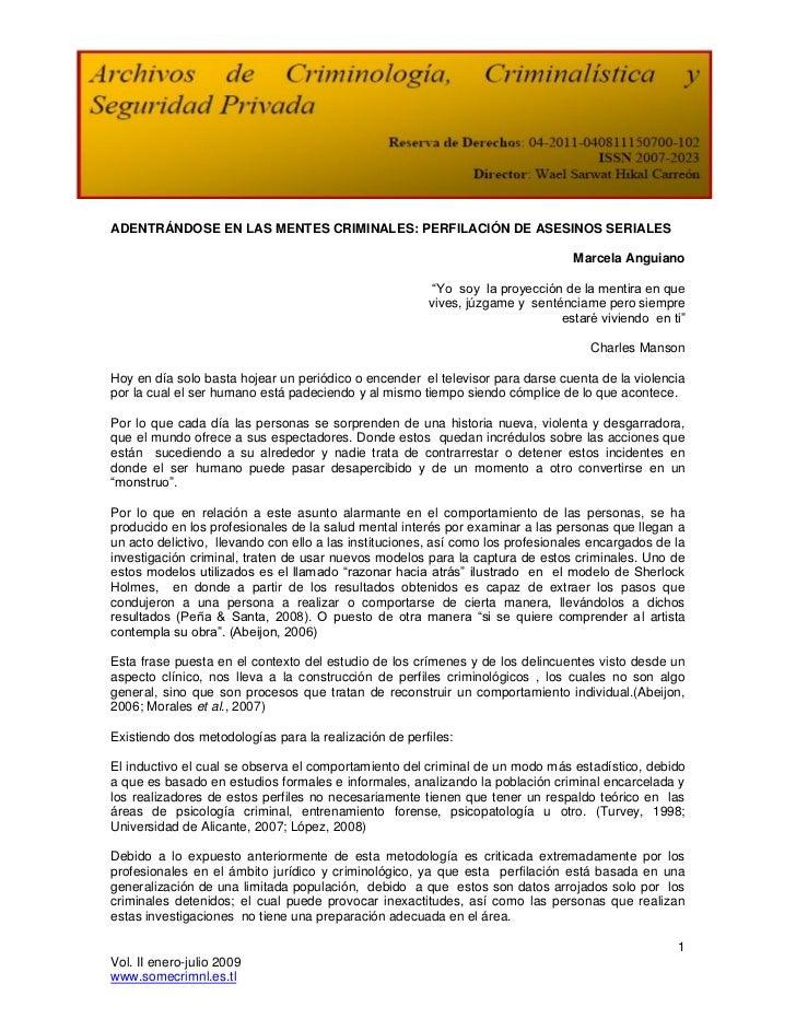 ADENTRÁNDOSE EN LAS MENTES CRIMINALES: PERFILACIÓN DE ASESINOS SERIALES                                                   ...