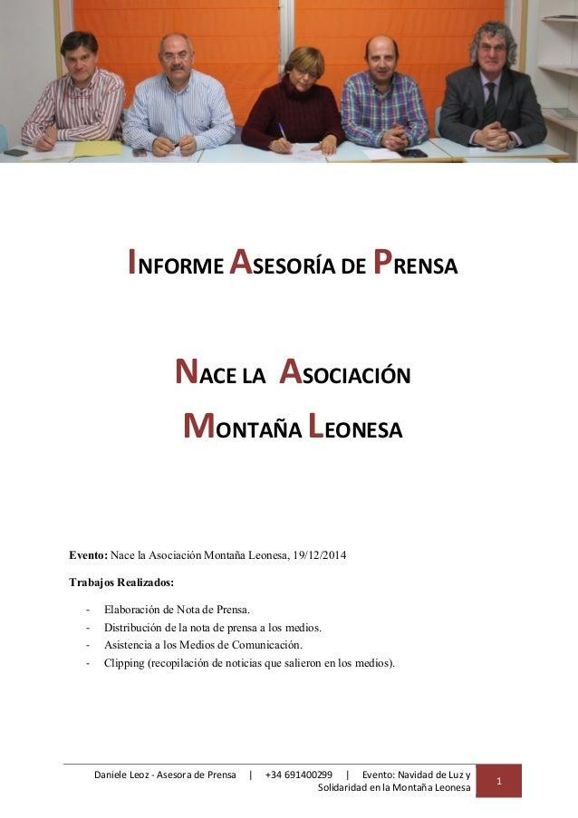 Daniele Leoz - Asesora de Prensa   +34 691400299   Evento: Navidad de Luz y Solidaridad en la Montaña Leonesa 1 INFORME AS...