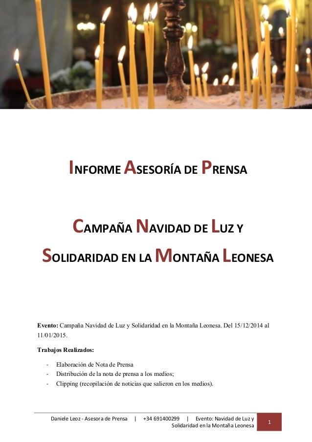 Daniele Leoz - Asesora de Prensa | +34 691400299 | Evento: Navidad de Luz y Solidaridad en la Montaña Leonesa 1 INFORME AS...