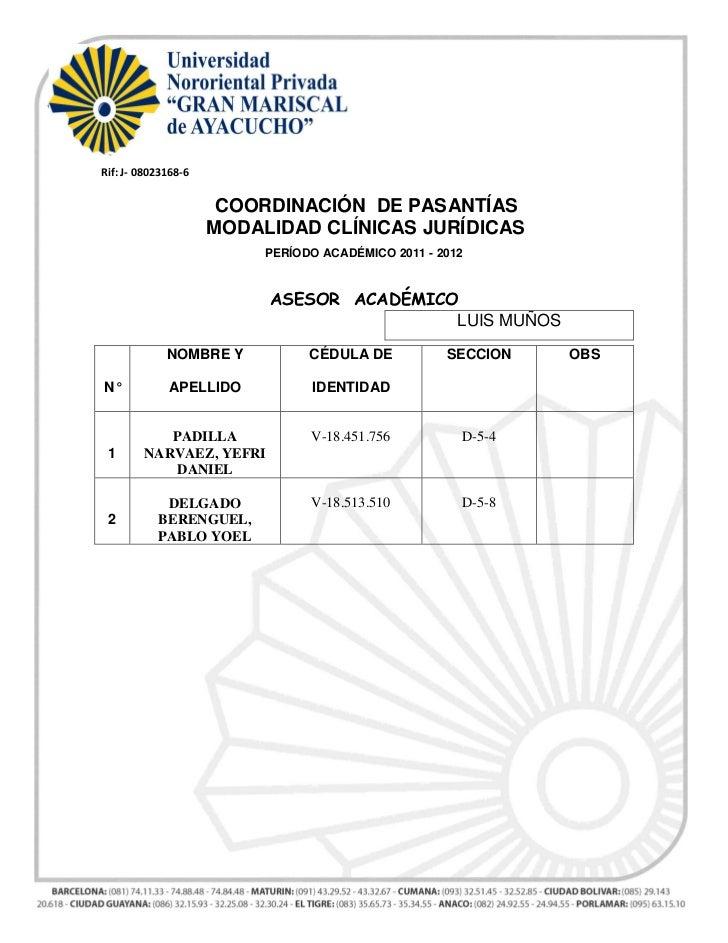 Rif: J- 08023168-6                      COORDINACIÓN DE PASANTÍAS                     MODALIDAD CLÍNICAS JURÍDICAS        ...