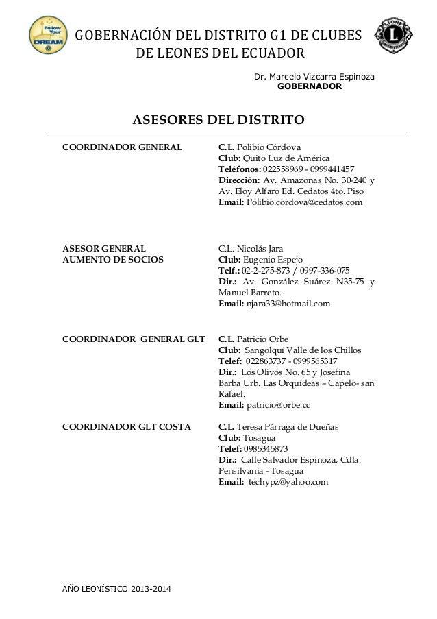 GOBERNACIÓN DEL DISTRITO G1 DE CLUBES DE LEONES DEL ECUADOR Dr. Marcelo Vizcarra Espinoza GOBERNADOR ASESORES DEL DISTRITO...