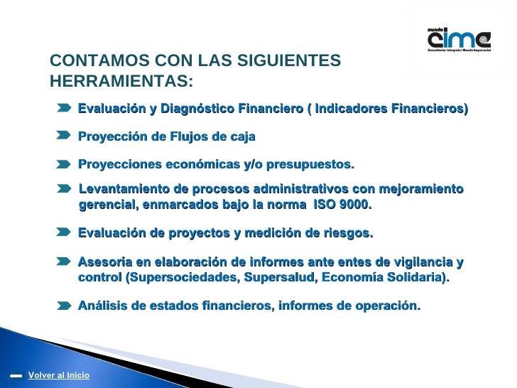 Evaluación y Diagnóstico Financiero ( Indicadores Financieros) Proyección de Flujos de caja Proyecciones económicas y/o pr...