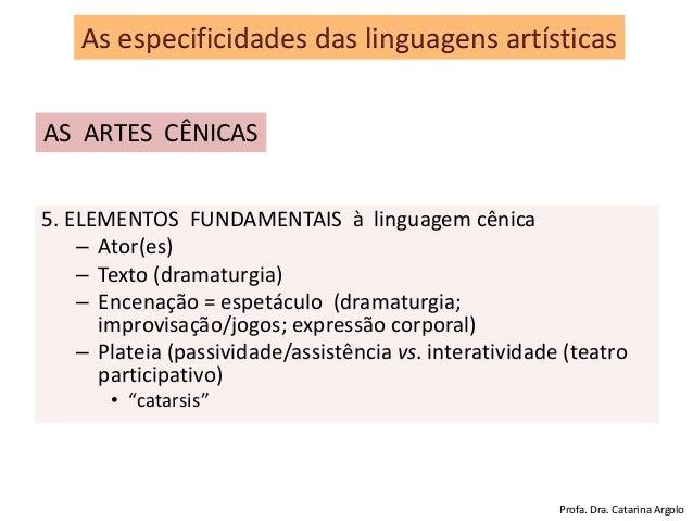 5. ELEMENTOS FUNDAMENTAIS à linguagem cênica – Ator(es) – Texto (dramaturgia) – Encenação = espetáculo (dramaturgia; impro...