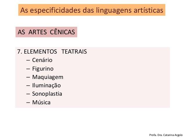 7. ELEMENTOS TEATRAIS – Cenário – Figurino – Maquiagem – Iluminação – Sonoplastia – Música As especificidades das linguage...