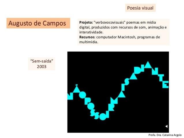 """Poesia visual Augusto de Campos Projeto: """"verbovocovisuais"""" poemas em mídia digital, produzidos com recursos de som, anima..."""