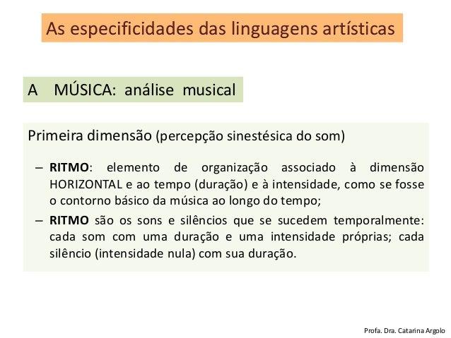 Primeira dimensão (percepção sinestésica do som) – RITMO: elemento de organização associado à dimensão HORIZONTAL e ao tem...