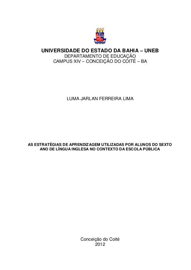 0     UNIVERSIDADE DO ESTADO DA BAHIA – UNEB             DEPARTAMENTO DE EDUCAÇÃO          CAMPUS XIV – CONCEIÇÃO DO COITÉ...