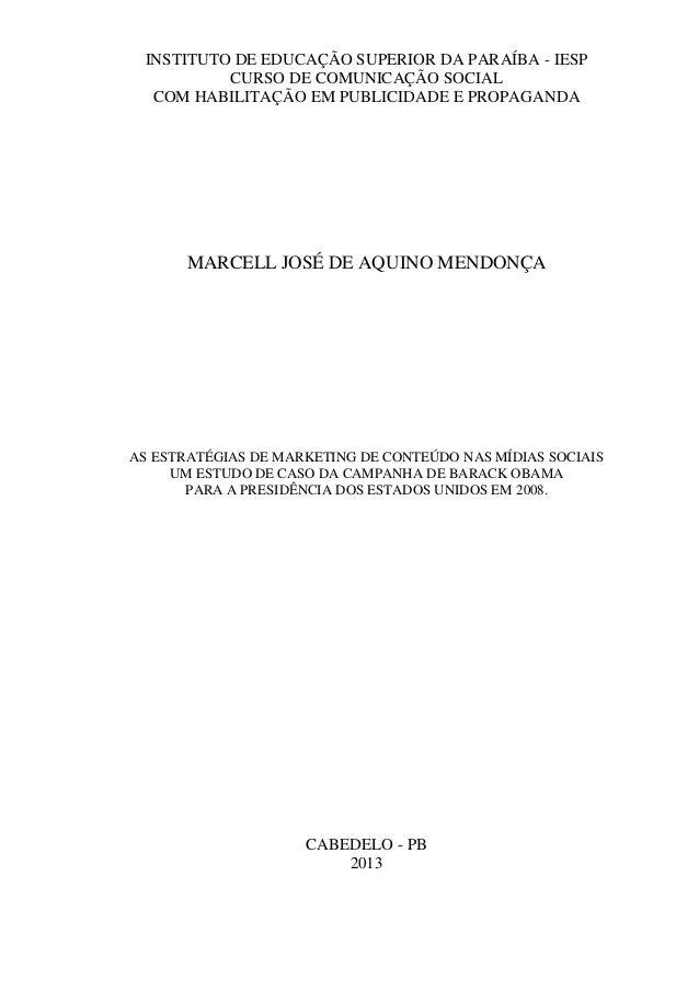 INSTITUTO DE EDUCAÇÃO SUPERIOR DA PARAÍBA - IESP CURSO DE COMUNICAÇÃO SOCIAL COM HABILITAÇÃO EM PUBLICIDADE E PROPAGANDA  ...