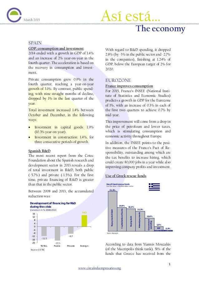ESPA SPAIN GDP, consumption and investment 2014 ended with a growth in GDP of 1.4% and an increase of 2% year-on-year in t...