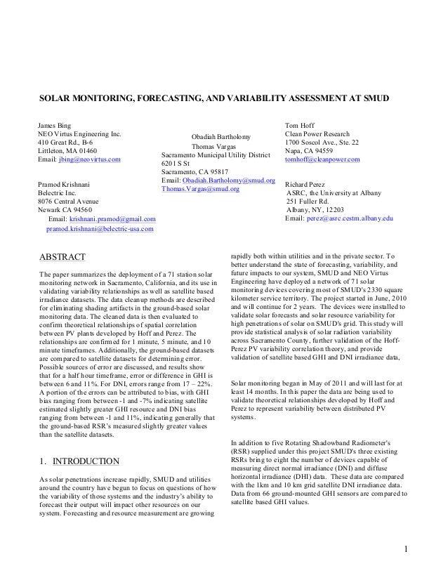 SOLAR MONITORING, FORECASTING, AND VARIABILITY ASSESSMENT AT SMUDJames Bing                                               ...