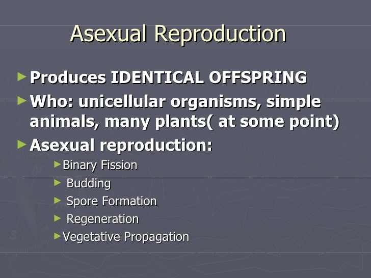 Types of asexual reproduction powerpoint