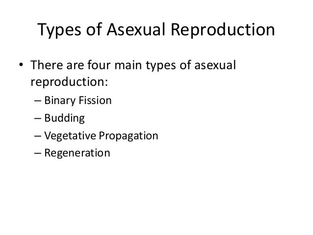 Different types of asexual reproduction with examples