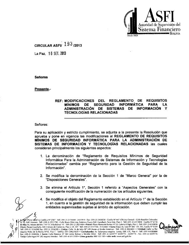 Desde 1928  CIRCULAR AsFiÍ 133 12013 La Paz,  1B SEI.  2013  ASFI  Autoridad de Supervision del Sistema F lnanclero  BOLIV...