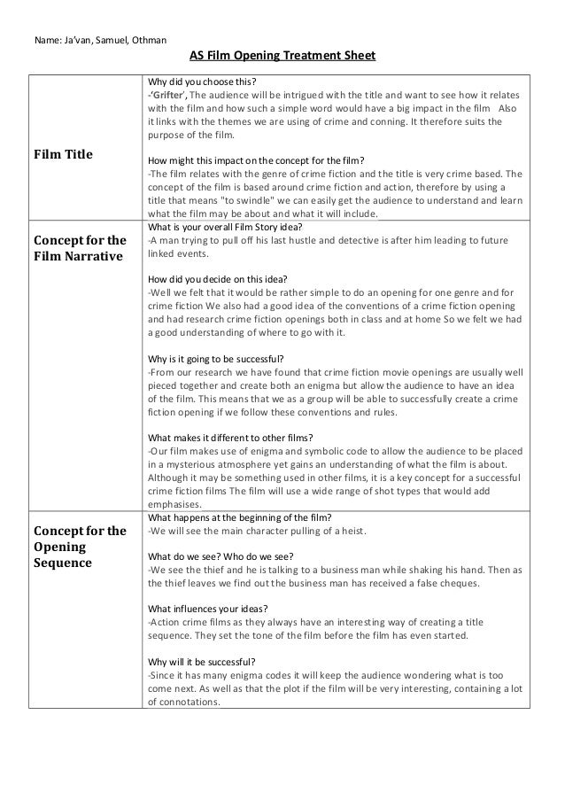 As film opening treatment for Film treatment template