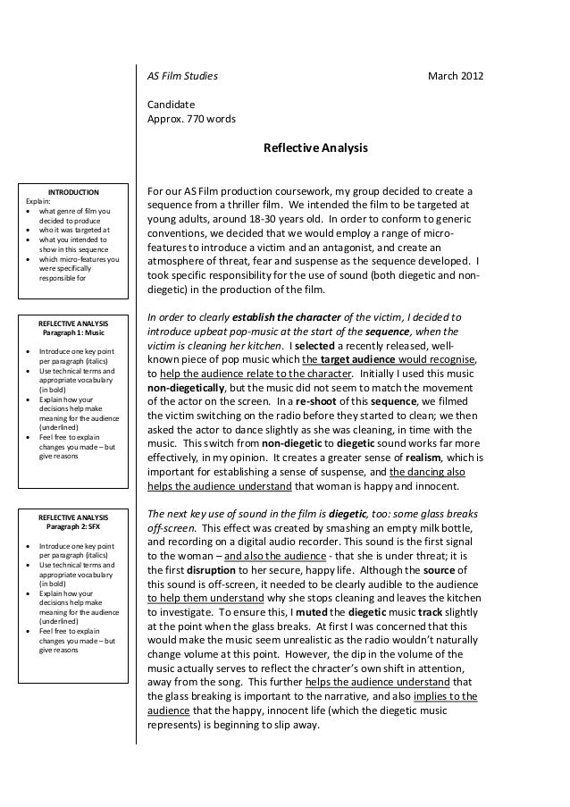 as film studies reflective analysis guidance booklet 2