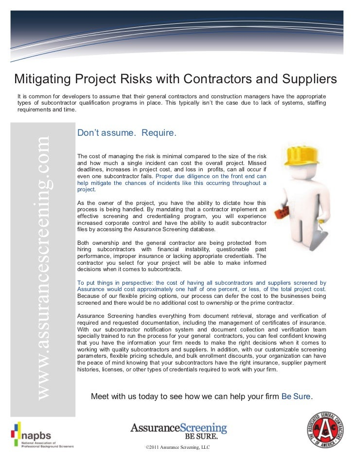 Mitigating Project Risks with Contractors and SuppliersIt is common for developers to assume that their general contractor...