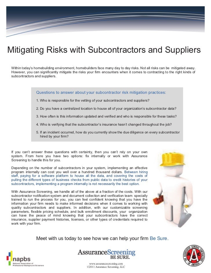 Mitigating Risks with Subcontractors and Suppliers Within today's homebuilding environment, homebuilders face many day to ...