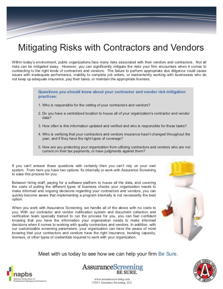Mitigating Risks with Contractors and VendorsWithin today's environment, public organizations face many risks associated w...