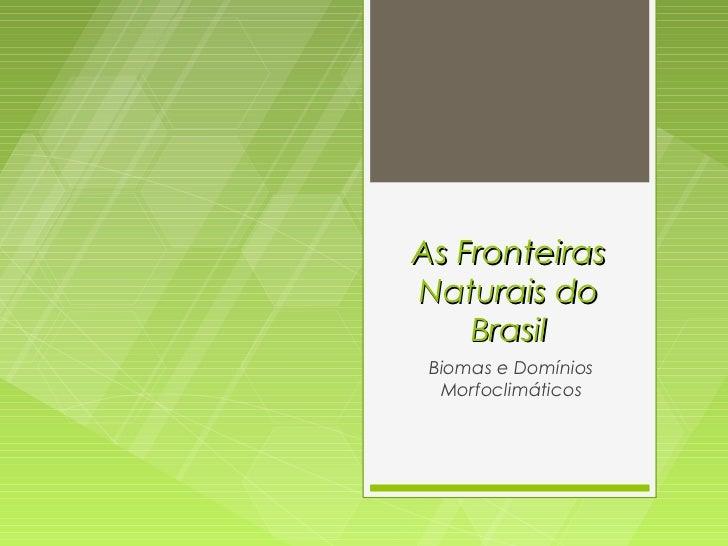 As FronteirasNaturais do    Brasil Biomas e Domínios  Morfoclimáticos