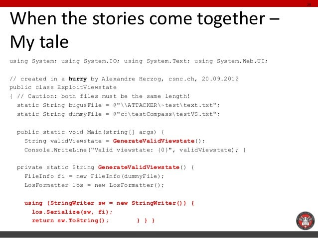 When the stories come together – My tale  using System; using System.IO; using System.Text; using System.Web.UI;  // creat...