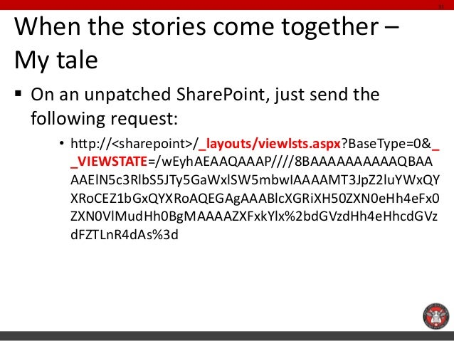 When the stories come together – My tale  On an unpatched SharePoint, just send the following request:  •http://<sharepoi...