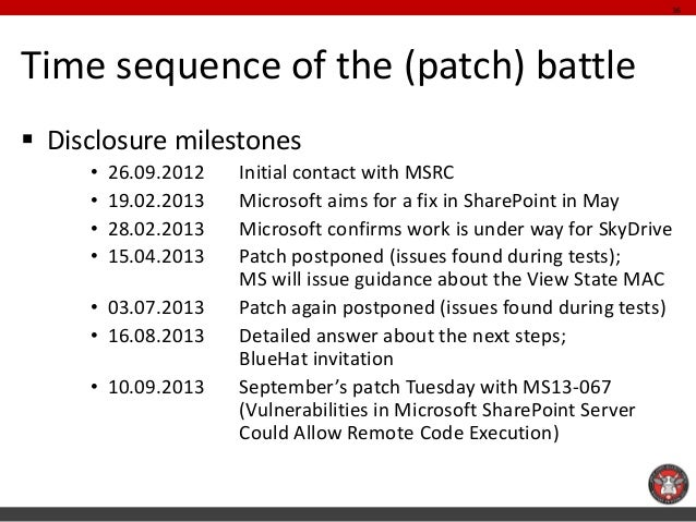 Time sequence of the (patch) battle  Disclosure milestones  •26.09.2012 Initial contact with MSRC  •19.02.2013 Microsoft ...