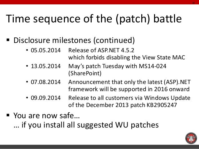 Time sequence of the (patch) battle  Disclosure milestones (continued)  •05.05.2014 Release of ASP.NET 4.5.2 which forbid...